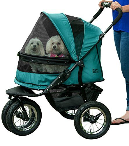 Pet Gear No-Zip Double Pet Stroller, Zipperless Entry, Pine Green -- Want additional info? Click on the image. #DogCarriersTravelProducts