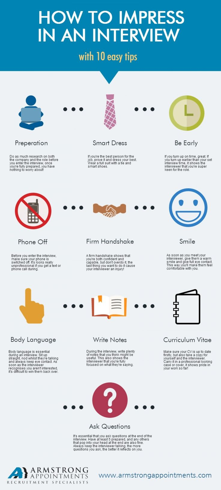 How to impress in an #interview with 10 easy tips #infographic