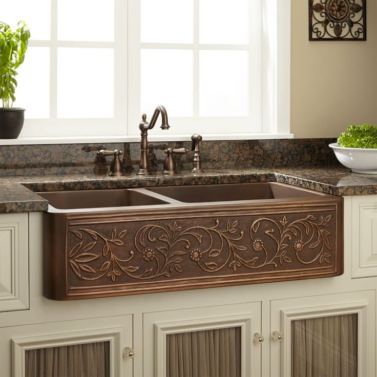 "33"" Vine Design 60/40 Offset Double-Bowl Copper Farmhouse Sink - Kitchen Sinks - Kitchen"
