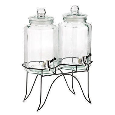 Home Essentials Del Sol Twin 1-Gallon Beverage Dispensers on Metal Rack - BedBathandBeyond.com