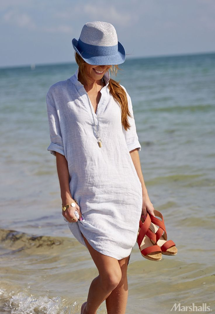 Comfy chic. A linen shirt-dress doubles as a coverup! Just add strappy wedges and take that look from the beach to the boardwalk.