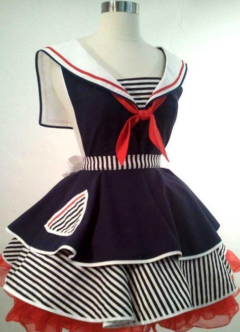 Sailor Sue Pin Up Costume Apron Cosplay door SassyFrasCollection