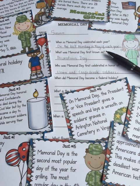When did Memorial Day become a federal holiday? What is often played at ceremonies on Memorial Day? What is the National Moment of Remembrance? Your students will enjoy knowing the answers to these and many more interesting questions with this 20 Scavenger Hunt Fun Facts pack on Memorial Day.  https://www.teacherspayteachers.com/Product/MEMORIAL-DAY-2551050