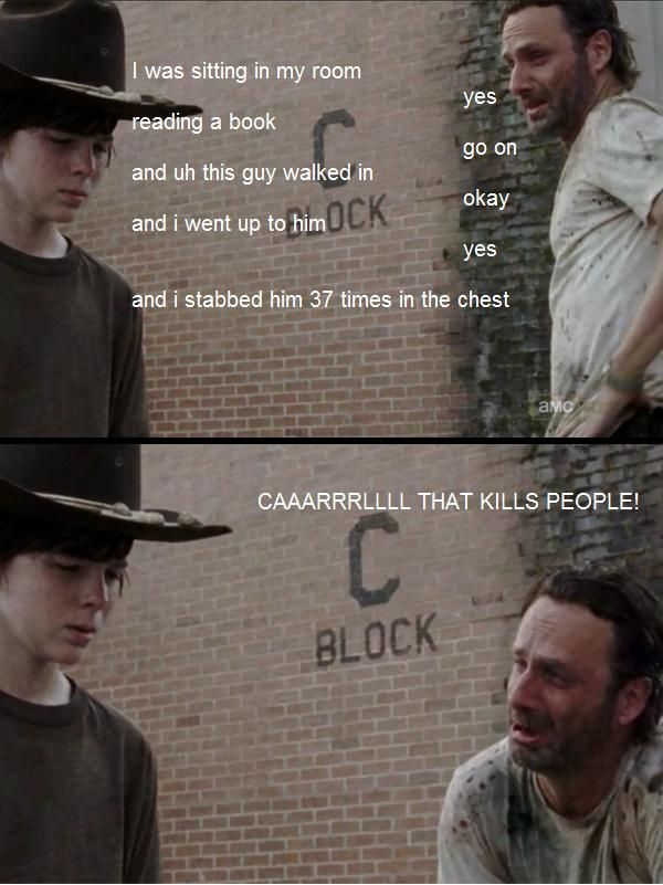 The Walking Dead and Llamas with Hats hahahahahahahhahaha ricks face