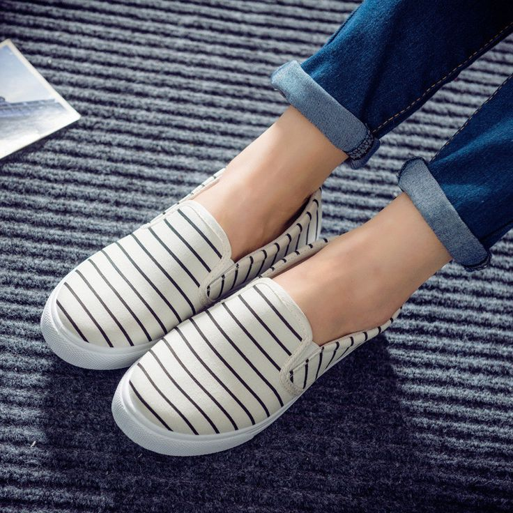 Canvas Slip on Women Loafers Shoes Stripped Casual