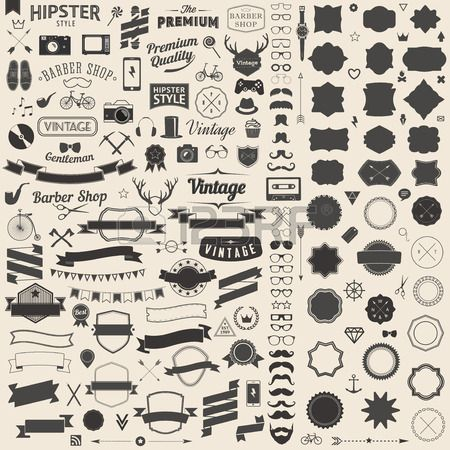 Huge Set Of Vintage Styled Design Hipster Icons. Vector Signs.. Royalty Free Cliparts, Vectors, And Stock Illustration. Image 33629244.
