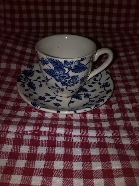 Royal Tudor Grindley Bouquet Blue moccakopje en schotel