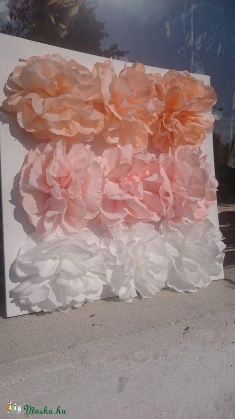 Virágos kert a falon- papírdekoráció, papírvirágok keretben (ottidekor) - Meska.hu