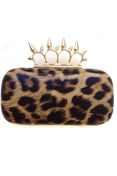 Royal Mint leopard print studded clutch at Chictopia Shop, $60.Chictopia Shops, Knuckle Handles, Knuckle Clutches, Boxes Clutches, Leopards Prints, Mint Leopards, Leopard Prints, Bags, Handles Studs