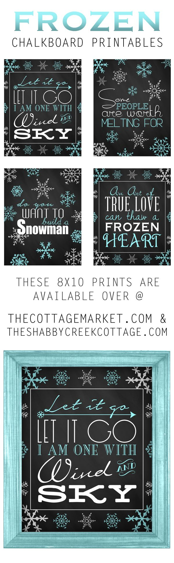 Want almost instant art? This set of FREE Frozen Chalkboard Printables is perfect for winter… or really anytime of year if you're a Frozen fan!