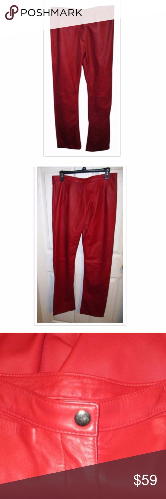 Saddle Shop Red Leather Pants Jeans NEW SZ 32 These are stunning.. no tag but never worn... Red genuine leather pants; jeans..no back pockets.. Flat front.. Waist measures 34 inches and inseam is 33 inches.. can be hemmed.. I bought these from a closing shop most brands were on the pan but this one did not..  SIze is a 32... which is a US 12 100% Genuine Leather Jeans Straight Leg