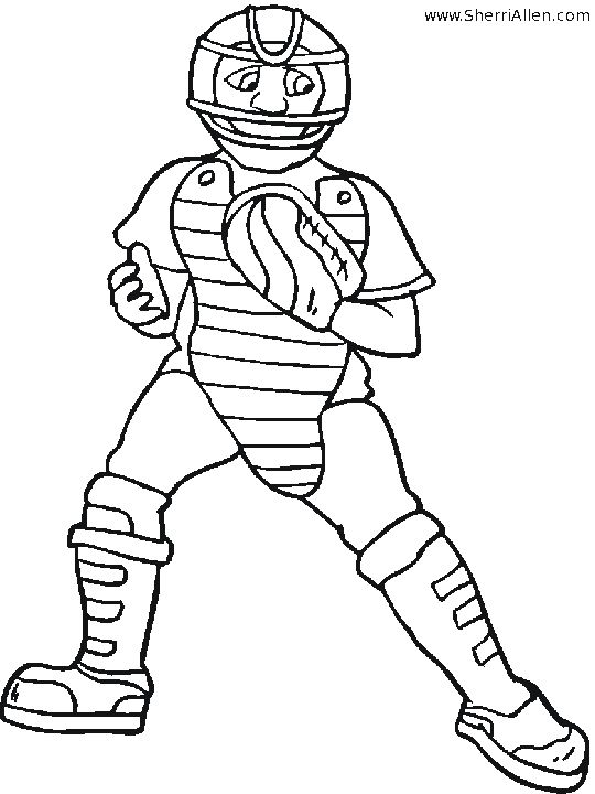 coloring book baseball catchers gear Google Search