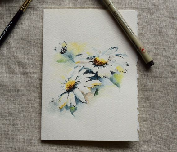White Daisy Watercolor Painted Card Original or Print