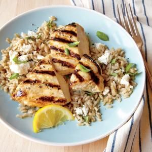 Grilled Lemon Chicken with Feta Rice | MyRecipes.com