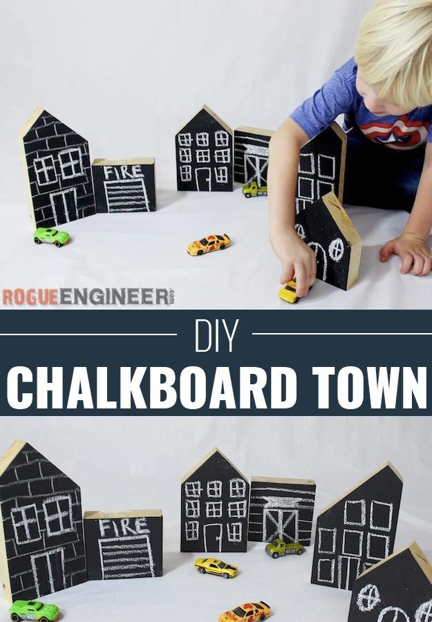 DIY Christmas Gifts for Kids - Homemade Christmas Presents for Children and Christmas Crafts for Kids | Toys, Dress Up Clothes, Dolls and Fun Games | Step by Step tutorials and instructions for cool gifts to make for boys and girls | DIY Kids Chalkboard Town | http://diyjoy.com/diy-christmas-gifts-for-kids
