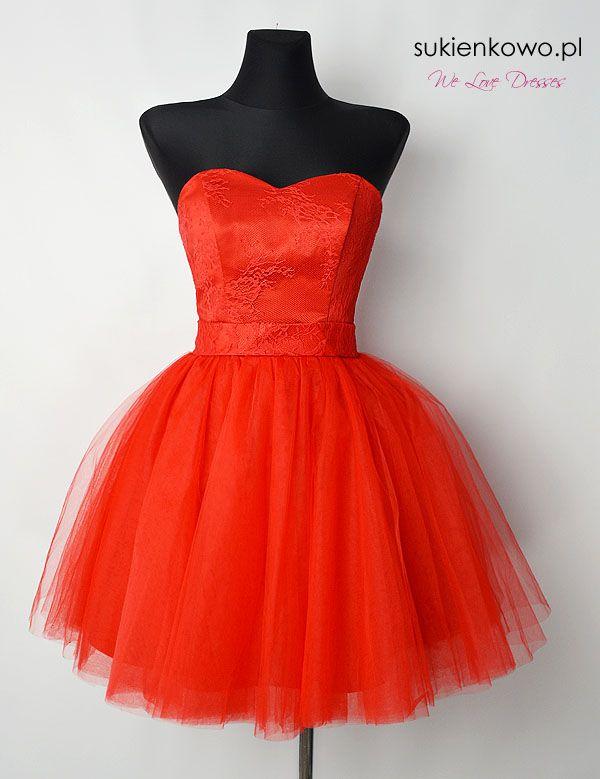 Rozkloszowana sukienka tiulowa czerwona BABYDOLL