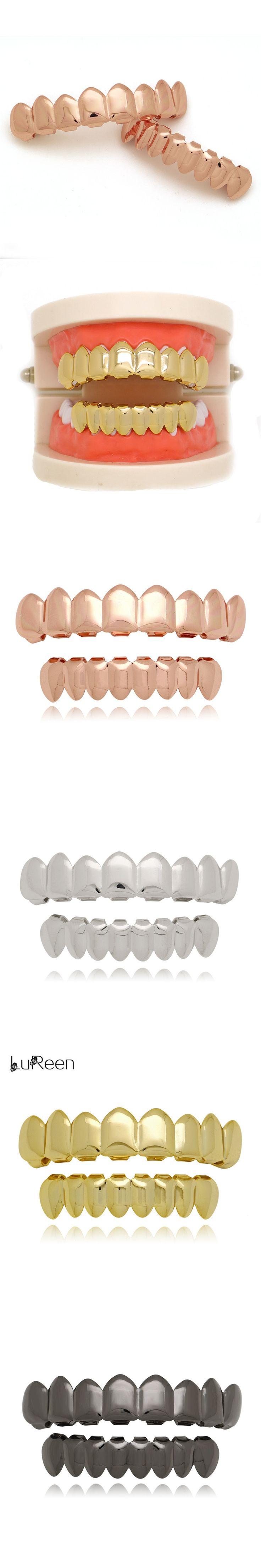 LuReen Fashion Gold Teeth Grillz Hiphop Top & Bottom Grills Dental Punk Halloween Vampire Teeth Caps Jewelry LD0007