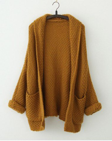 Plus Size Long Sleeve Turn Down Collar Women's Cardigan Vintage Sweaters | RoseGal.com Mobile