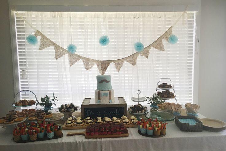 Vintage Boy Baby Shower Food Table
