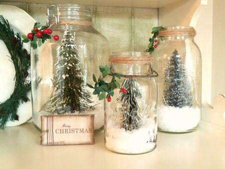 Idea deco: Navidad helada DIY dentro de botes de vidrio #ideas #deco #Navidad