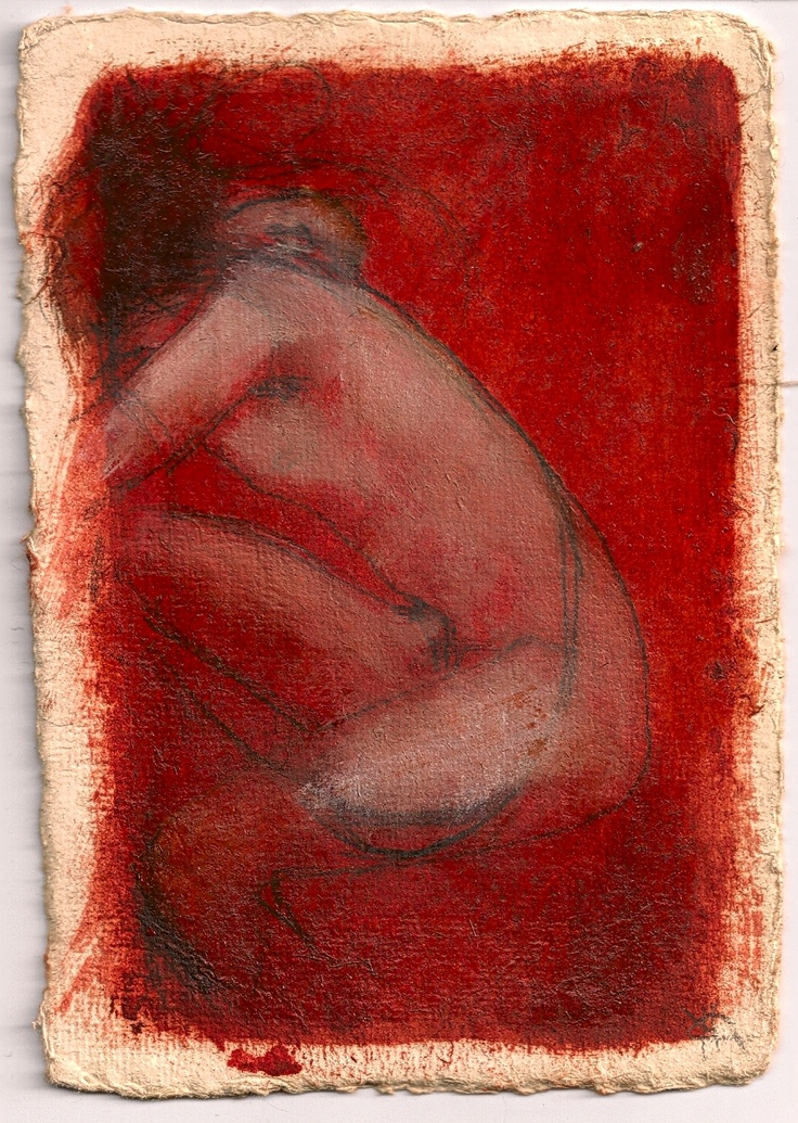 'Figure in Red' oil on paper postcard  2002  Maeve Fianna Callahan