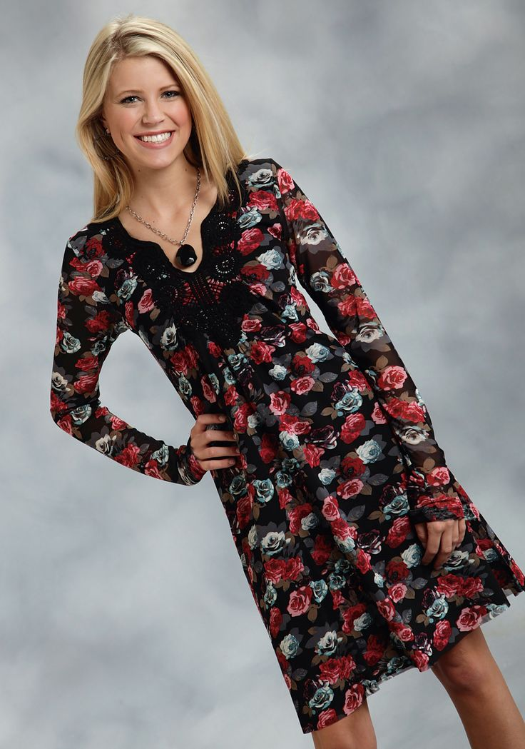 Roper® Ladies Black Floral Mesh Dress with Applique and Sheer Sleeves