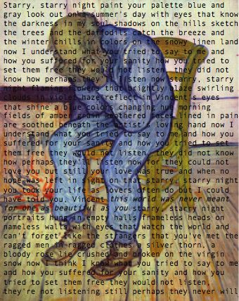"Don McLean - Vincent - 1971  Album = American Pie  Song  Lyrics  Inspiration: ""Starry Night-Vincent Van Gogh Painting: ""At Eternity's Gate""-Vincent Van Gogh. <3"