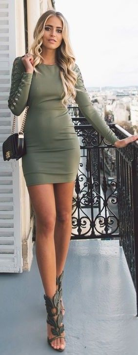 #street #fashion |Army Green Lace Up Little Dress  | Janni Deler