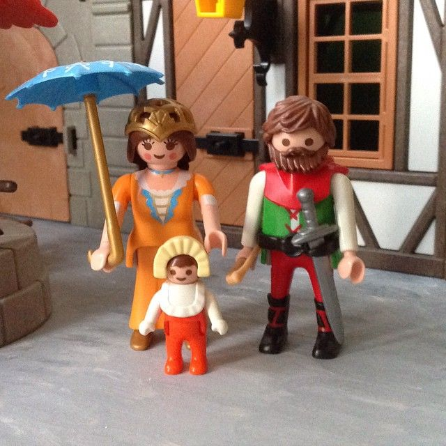 "John Lyttle, one of the Merrie Men, is married to Miss Clementine from the dress shop (she is still called ""Miss"" Clementine by her customers). They have a small child, Felicity. #family #playmobil #JohnLyttle #MissC #villagelife #forest_village"
