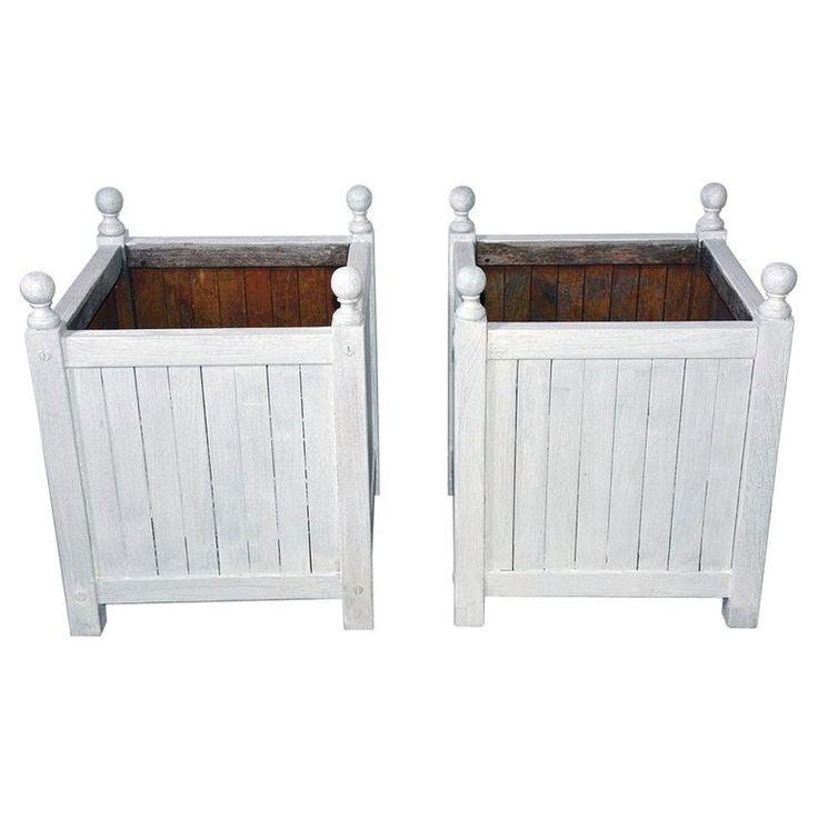 Pair Of 1stdibs Planters / Jardinieres – Washed Caisse De Versailles American Napoleon Iii Wood