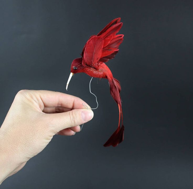 Vintage Red Hummingbird Feather Bird Figurine - Real Bird Feathers on Red Bird Ornament by Suite22 on Etsy
