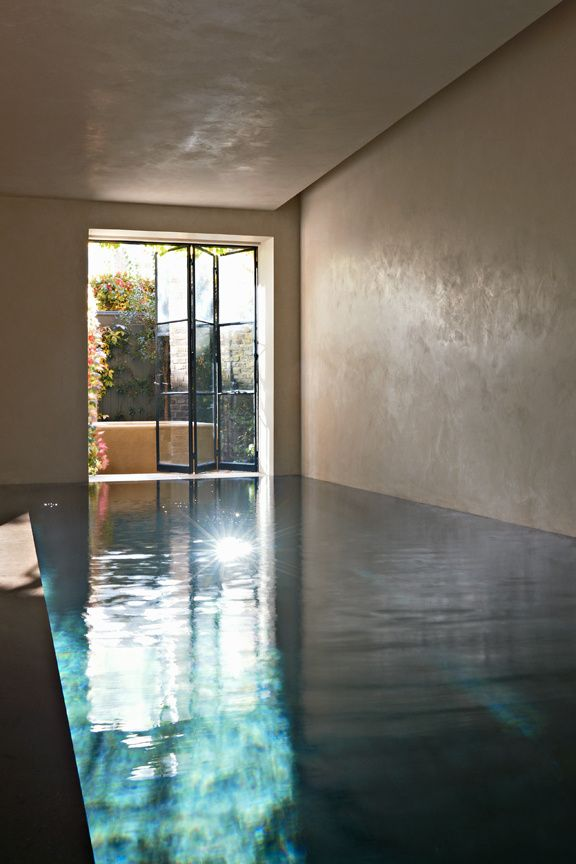 "London House, the pool is installed in the ""basement"", the mezzanine, which was formerly divided into five small apartments. With its with tadelakt walls and its patio overlooking a small tree-lined courtyard, it has a scent also. A living room and a hammam complete upstairs. Text by Aude de La Conté, photos by Tom Mannion."