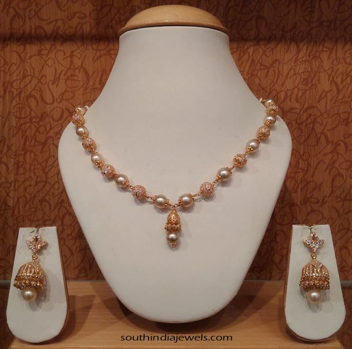 Light weight gold pearl mala with jhumka