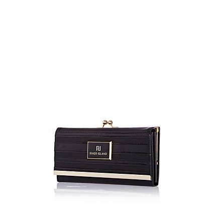 Black patent stripe clip top purse £17.00