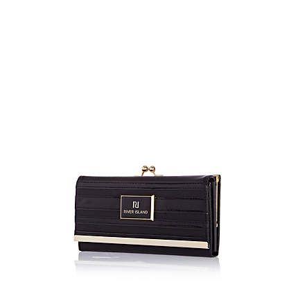 Black patent stripe clip top purse £17.00
