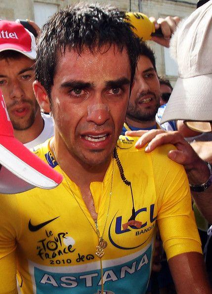 Alberto Contador emotional and sweating