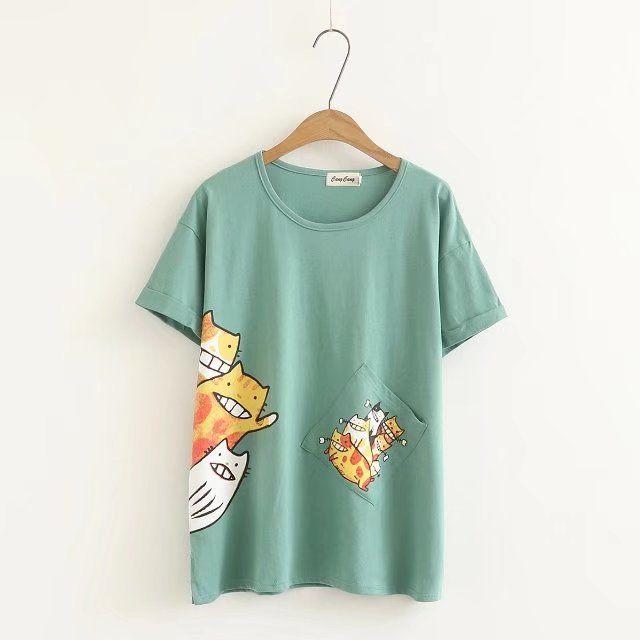 Плюс удобрения, чтобы увеличить размер женщин 2018 летом новый корейский сыпучих жира мм мультфильм печати с коротким рукавом хлопка футболка 200 кг - Taobao
