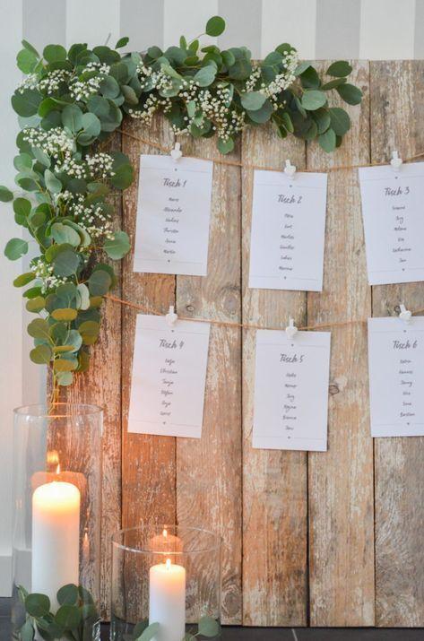 Eukalyptus-Hochzeit – Teil 3: Tischplan selbst gestalten