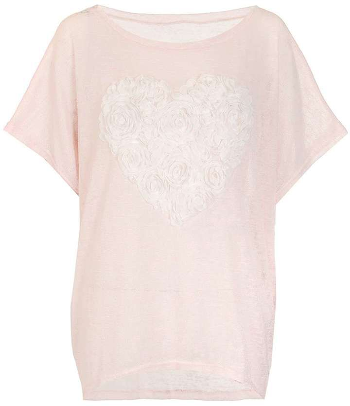 Quiz *Quiz Pink And Cream Heart Batwing Top