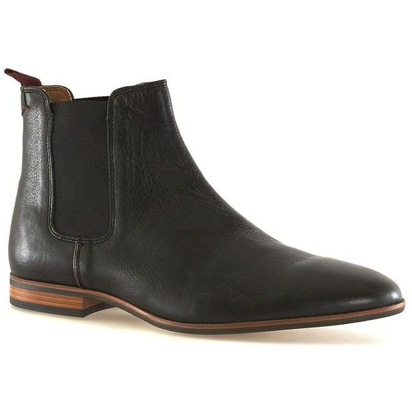TOPMAN Black Leather Chelsea Boots ($70) ❤ liked on Polyvore featuring men's fashion, men's shoes, men's boots, black, mens round toe boots, mens black shoes, mens black leather boots, mens black leather shoes and mens leather boots