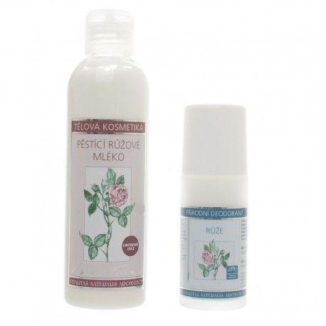 Kosmetický dárkový balíček z přírodní certifikované kosmetiky. Obsahuje Deodorant s vůní růže 50ml a Pěstící mléko s vůní růže 200ml aoriginální ručně vyrobené přáníčko