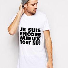"""""""je suis encore mieux tout nu"""" t-shirt homme s à xxl - peinture 100% fait-main"""