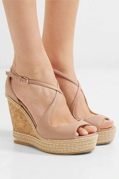 ce516ecab7 Jimmy Choo | Dakota 120 leather wedge sandals | NET-A-PORTER.COM ...