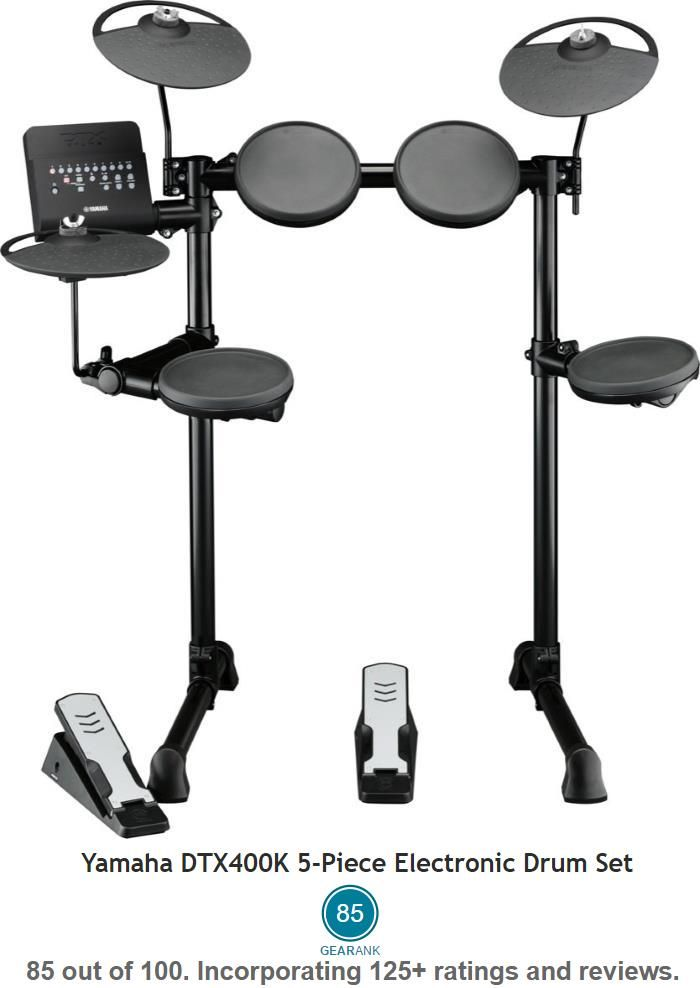 The Highest Rated Electronic Drum Kit Under $500 is the Yamaha DTX400K with a street price of $499.99 - see more at https://www.gearank.com/guides/cheap-electronic-drum-kits