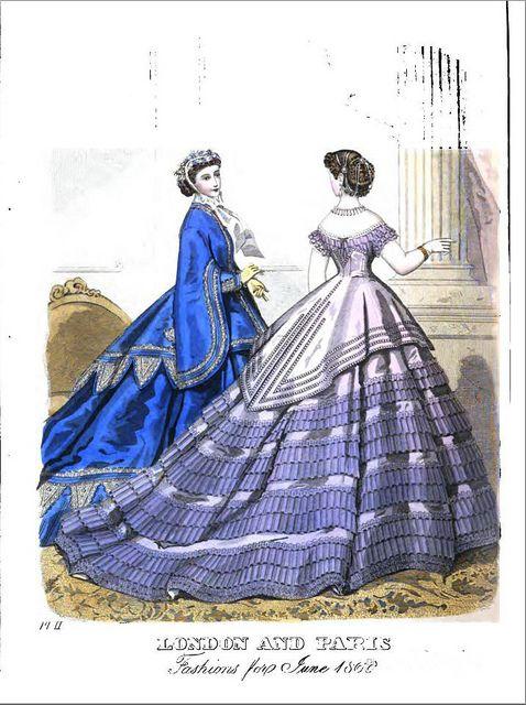 Vintage Victorian Fashion Plate No 2 - Ladies Magazine June 1866 by CharmaineZoe, via Flickr