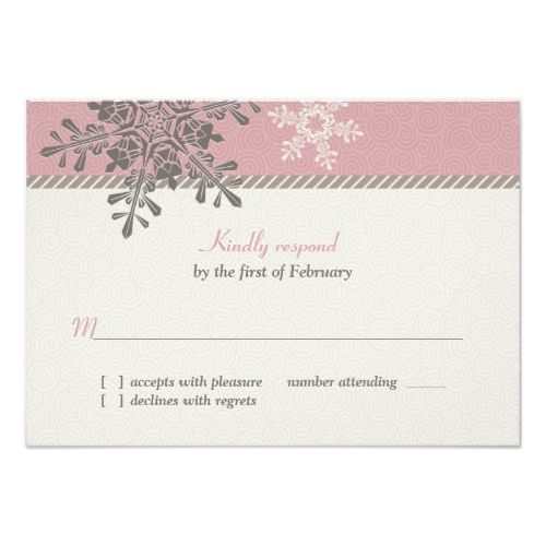 Winter Wedding Reception Pink Ivory Snowflake Winter Wedding Reply Card