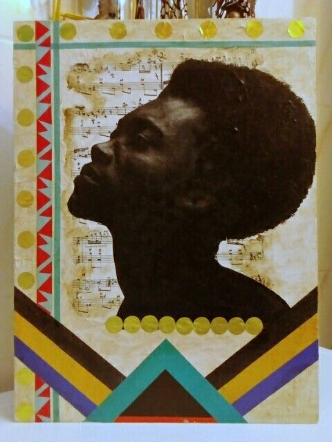 """""""Afro"""". Cuadro. Benjamin Clementine. Vendido /Sold out. (GloriArte143)"""