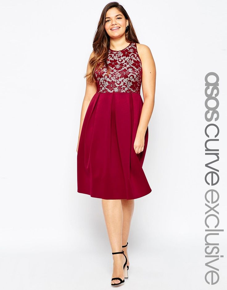 Asos curve red lace dress
