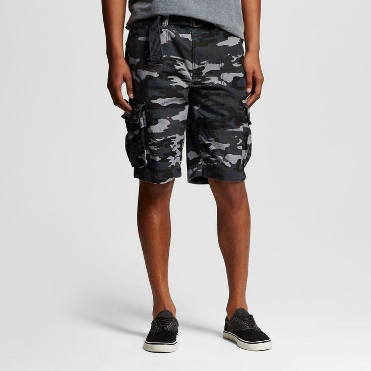 Men's Belted Canvas Cargo Short Grey Camo - Mossimo Supply Co. 29, Gray