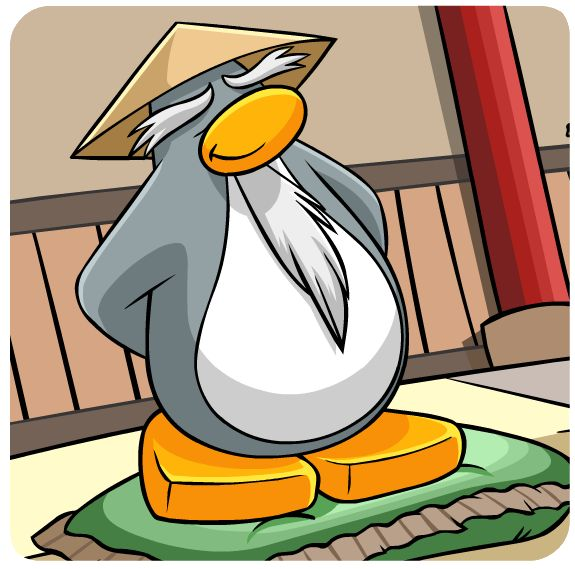 Sensei, the wisest penguin on the Island. He can be found not very often.